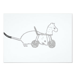bw mouse outline hobby horse cute animal design card