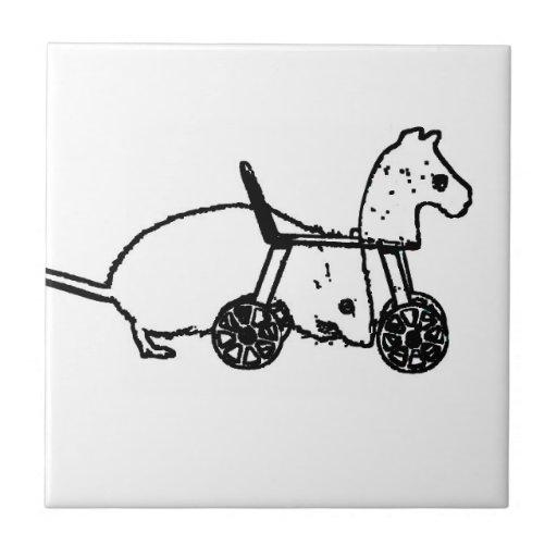 bw mouse outline hobby horse cute animal design ceramic tile