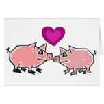 BW- Pink Piggies Thinking of You Card