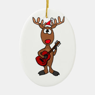 BW- Reindeer Playing Guitar Christmas Ornament