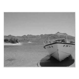 bw river boat 11 cm x 14 cm invitation card