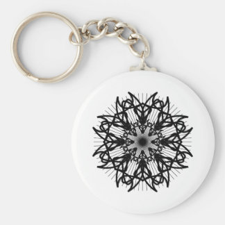 bw-rosette2_Vector_Clipart black white shapes trib Basic Round Button Key Ring
