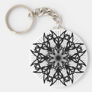 bw-rosette2_Vector_Clipart black white shapes trib Key Chain