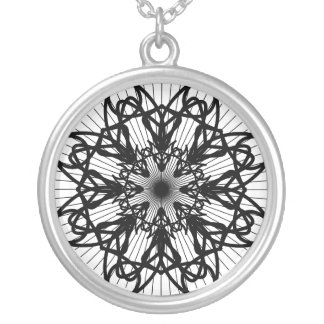 bw-rosette2_Vector_Clipart black white shapes trib Round Pendant Necklace