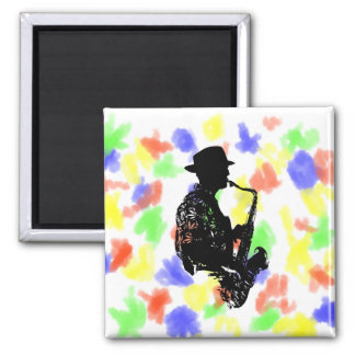 BW sax player side view outline Square Magnet