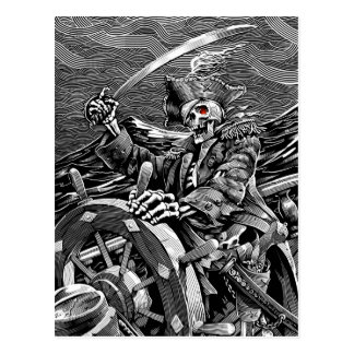 BW Skeleton Pirate Postcard