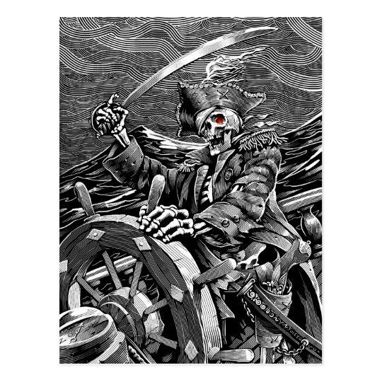 BW Skeleton Pirate Postcard