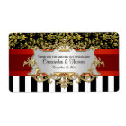 BW Stripe, Black Gold Damask H Wine Bottle Label