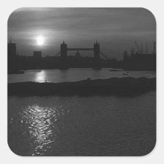 BW UK England London sun sets Tower Bridge 1970 Stickers