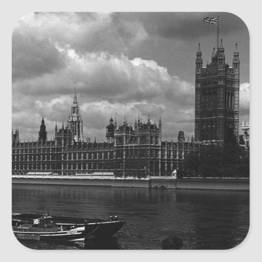 BW UK England London The houses of parliament 1970 Square Stickers