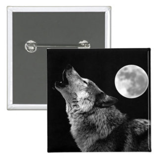 BW Wolf Howling at Moon 15 Cm Square Badge