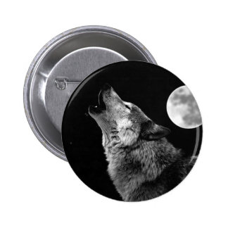 BW Wolf Howling at Moon 6 Cm Round Badge