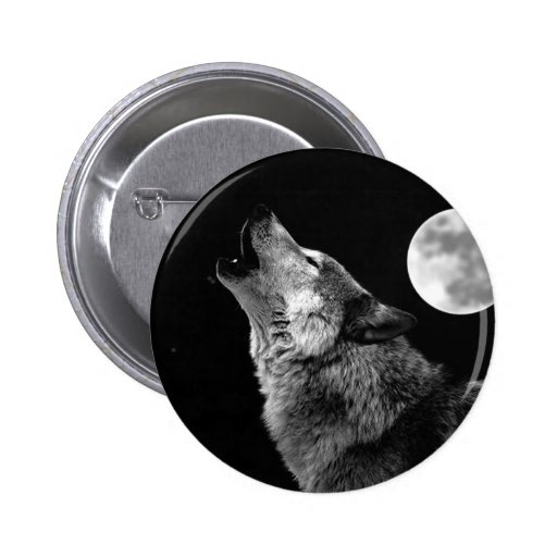 BW Wolf Howling at Moon Pin