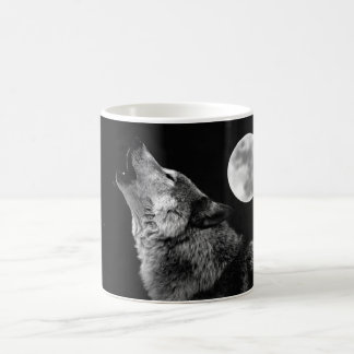 BW Wolf Howling at Moon Coffee Mug