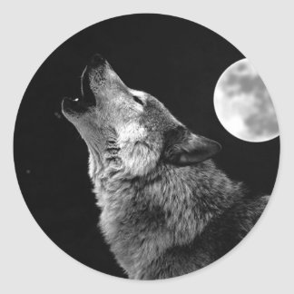 BW Wolf Howling at Moon Round Sticker
