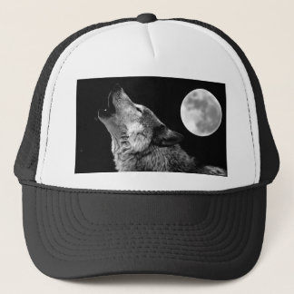 BW Wolf Howling at Moon Trucker Hat