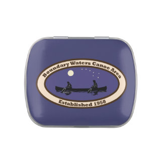 BWCA Emblem with 2 Canoeists Jelly Belly Tin