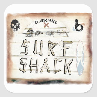 bX Surf Shack, Barrel X Square Sticker