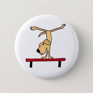 BX- Yellow Labrador on Balance Beam Cartoon 6 Cm Round Badge
