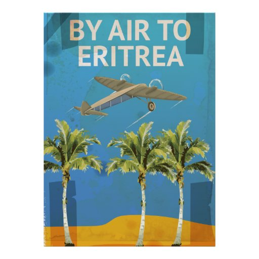 By Air To Eritrea Vintage Travel poster