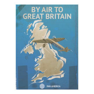By Air To Great Britain Vintage Travel poster