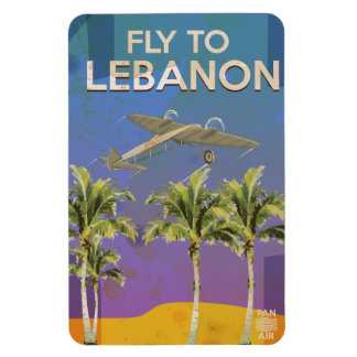 By Air To Lebanon Vintage Travel poster Magnet