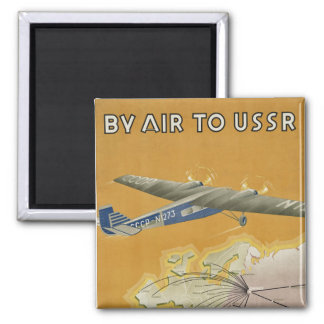 By Air to USSR Square Magnet