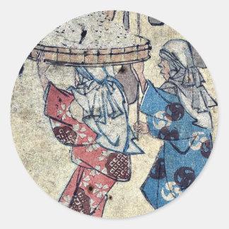 by Ando, Hiroshige Ukiyo-e. Round Stickers