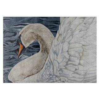 'By Day a Swan' glass chopping board. Cutting Board