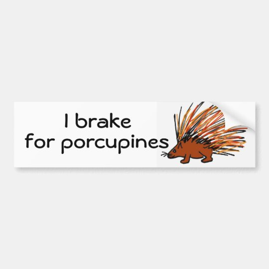 BY- I brake for porcupines bumper sticker