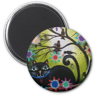 By Lori Everett_ Day Of The Dead,Mexican,Black Cat 6 Cm Round Magnet