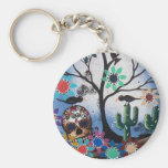 By Lori Everett_ Day Of The Dead,Mexican,Skull,DOD Basic Round Button Key Ring