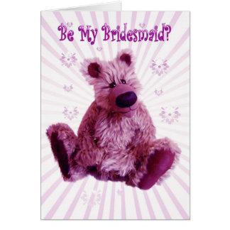 By my Bridesmaid teddy bear invitation wedding Greeting Card