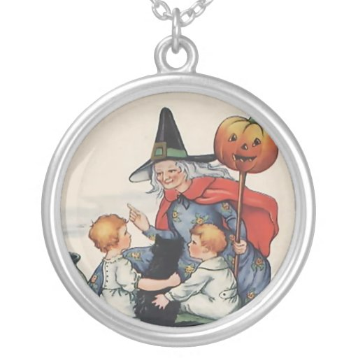 By Pumpkin Fat Vintage Halloween Art Necklace