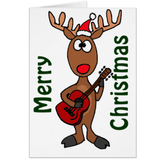 BY- Reindeer Playing Guitar Card
