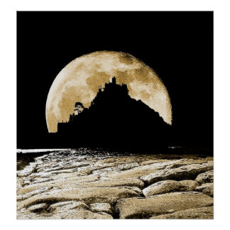 By the light of the sepia moon print