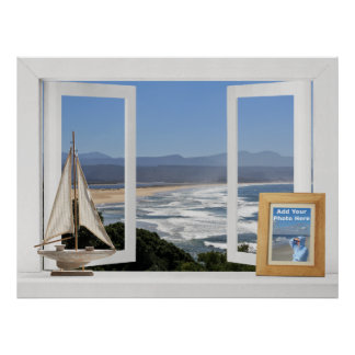 By the Ocean -- Customizable Open Window View Print