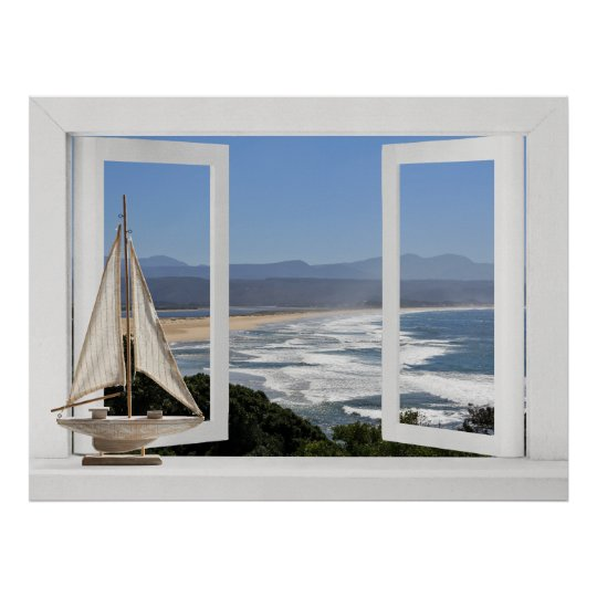 By the Ocean -- Open Window View with
