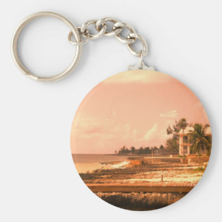 By The Ocean (Peach Tone) Basic Round Button Key Ring