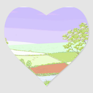 By The River. Country scene, art. Heart Sticker