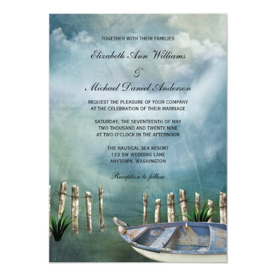 By The Sea Nautical Wedding Card