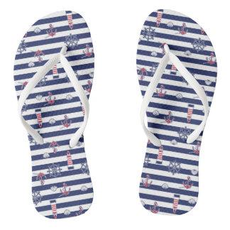 By The Sea Pattern Flip Flops