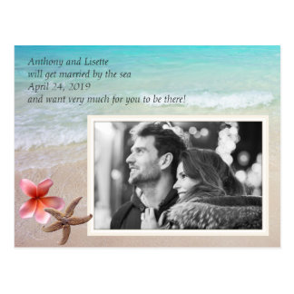 By the Sea Wedding Photo Save the Date Postcard
