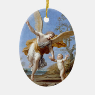 By the Seashore Angel and Child Ceramic Oval Decoration