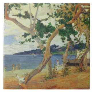 By the Seashore, Martinique, 1887 (oil on canvas) Large Square Tile
