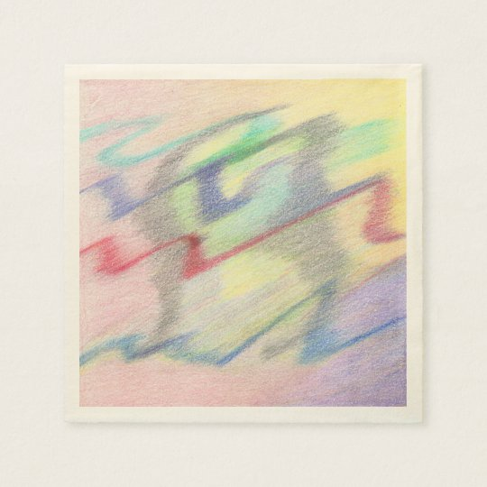 By the Seaside Colourfully Abstract Set of Napkins Disposable Serviette