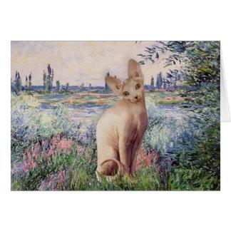 By the Seine - Cream Sphynx cat Card