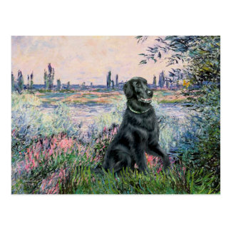 By the Seine - Flat Coated Retriever Postcard