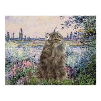 By the Seine - Norwegian Forest Cat Postcard