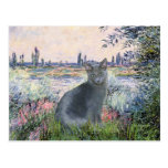 By The Seine- Russian Blue cat 2 Postcards